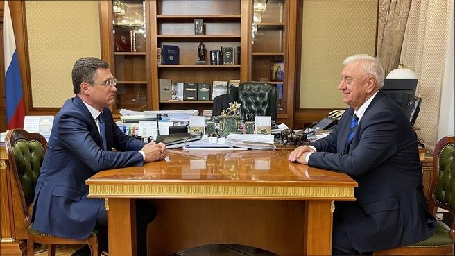 Alexander Novak's meeting with Chairman of the EEC Board Mikhail Myasnikovich