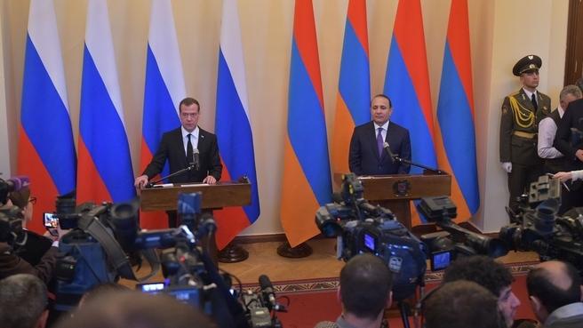 Заявления Дмитрия Медведева и Овика Абраамяна для прессы