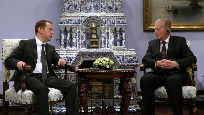 Встреча Дмитрия Медведева с вице-канцлером, Федеральным министром науки, исследований и экономики Австрийской Республики Райнхольдом Миттерленером