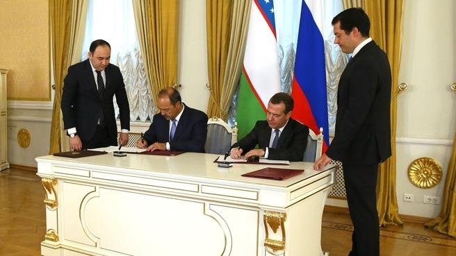 Подписание российско-узбекистанских документов
