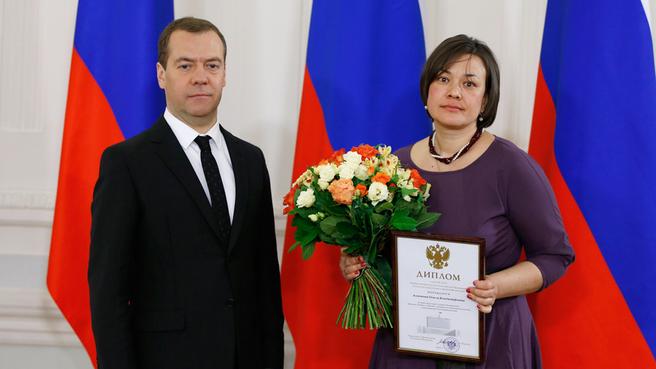 Вручение правительственных премий 2015 года в области средств массовой информации. Со специальным корреспондентом «Коммерсанта» Ольгой Алленовой