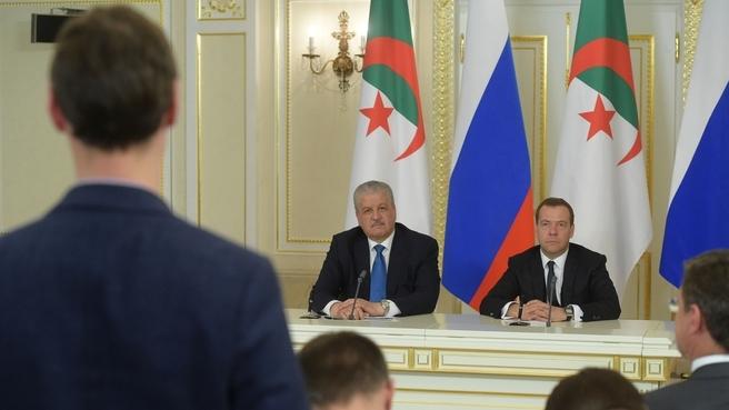 Заявления Дмитрия Медведева и Абдельмалека Селляля для прессы