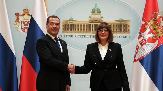 С Председателем Народной скупщины Сербии Майей Гойкович