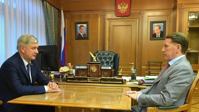 Встреча Алексея Гордеева с временно исполняющим обязанности губернатора Воронежской области Александром Гусевым