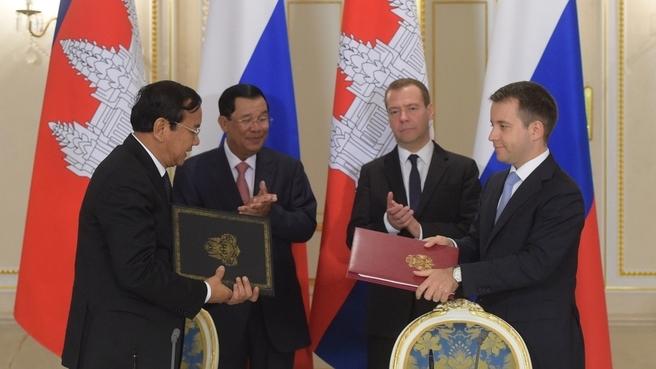 Подписание российско-камбоджийских документов по завершении переговоров