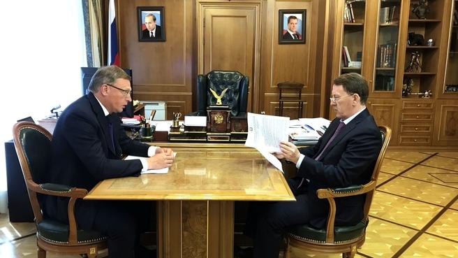 Рабочая встреча Алексея Гордеева с губернатором Омской области Александром Бурковым