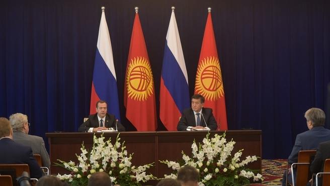 Заявления Дмитрия Медведева и Сооронбая Жээнбекова для прессы