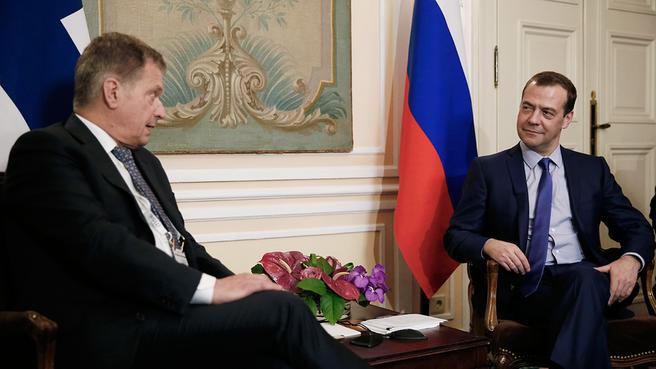 Встреча Дмитрия Медведева с Президентом Финляндии Саули Ниинистё