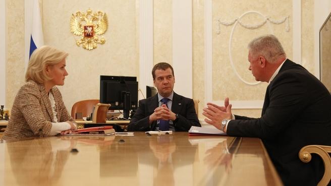 Встреча с Ольгой Голодец и главой Федерации независимых профсоюзов России Михаилом Шмаковым