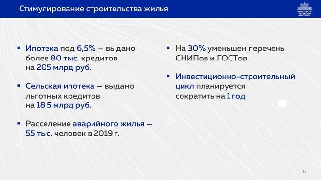 К отчёту о результатах деятельности Правительства России за 2020 год. Слайд 11