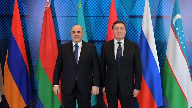 Михаил Мишустин и Аскар Мамин на международном форуме «Цифровое будущее глобальной экономики»