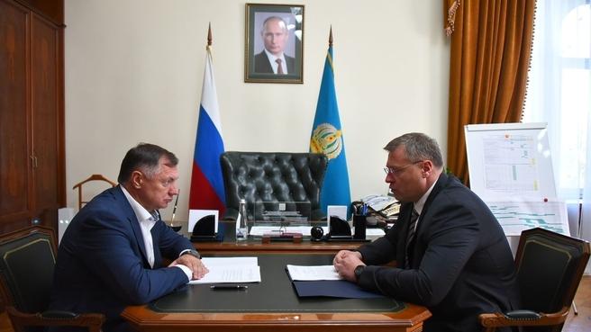 Марат Хуснуллин с губернатором Астраханской области Игорем Бабушкиным