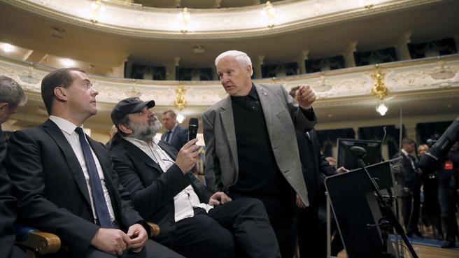 С художественным руководителем Большого драматического театра имени Г.А.Товстоногова Андреем Могучим и главным художником театра Эдуардом Кочергиным