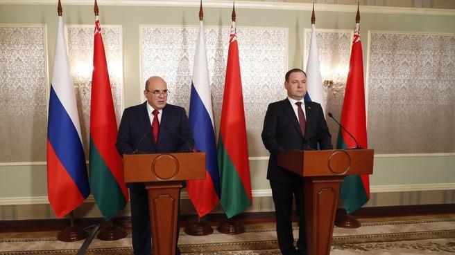 Михаил Мишустин и Роман Головченко выступили с заявлениями для прессы по итогам заседания Совета Министров Союзного государства