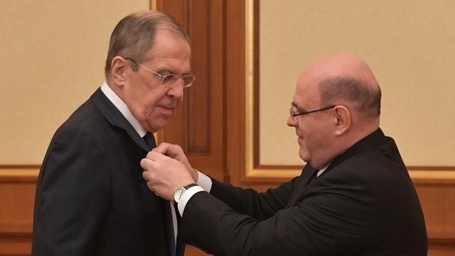 Вручение Сергею Лаврову медали имени Столыпина