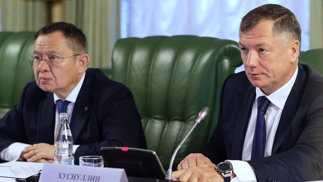 Ирек Файзуллин и Марат Хуснуллин на заседании президиума Правительственной комиссии по региональному развитию