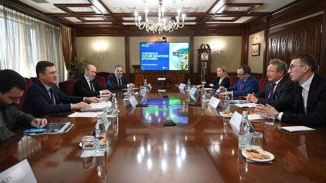 Александр Новак провёл встречу с председателем совета директоров австралийской компании Fortescue Metals Group Эндрю Форрестом