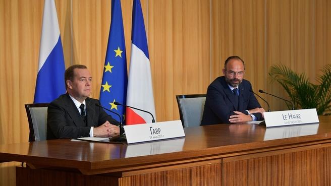 Пресс-конференция Дмитрия Медведева и Эдуарда Филиппа