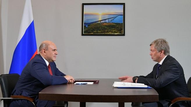 Беседа Михаила Мишустина с временно исполняющим обязанности губернатора Ульяновской области Алексеем Русских