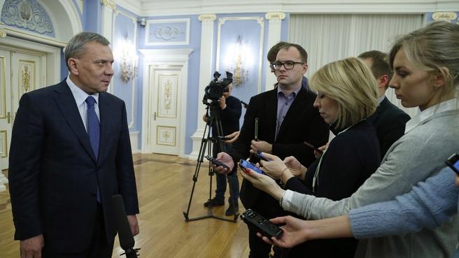 Брифинг Юрия Борисова по завершении совещания о финансово-экономическом состоянии госкорпорации «Роскосмос»