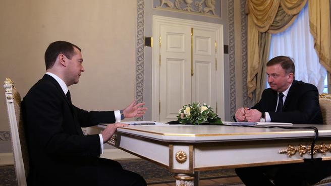Встреча Дмитрия Медведева с Премьер-министром Белоруссии Андреем Кобяковым