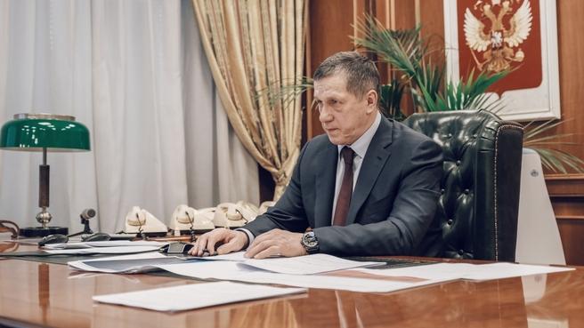 Юрий Трутнев дал старт строительству серии судов-краболовов на Дальнем Востоке в режиме видеоконференции