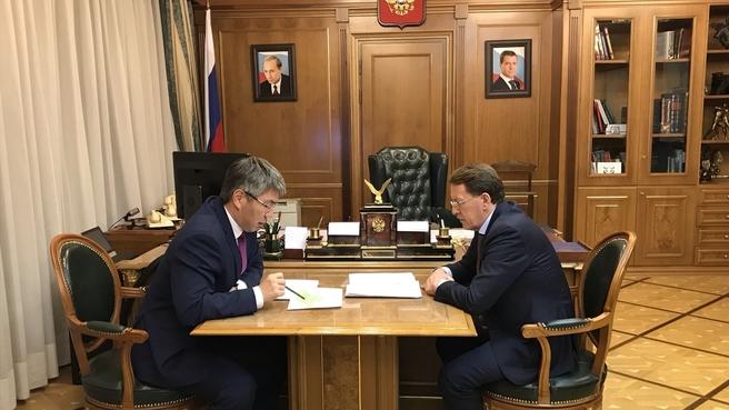 Рабочая встреча Алексея Гордеева с главой Республики Бурятия Алексеем Цыденовым