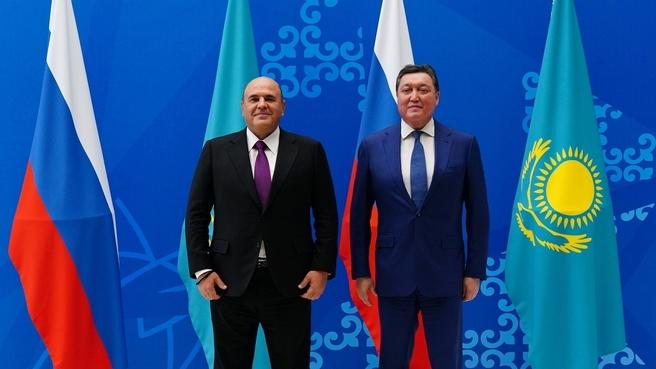 Михаил Мишустин и Премьер-министр Республики Казахстан Аскар Мамин