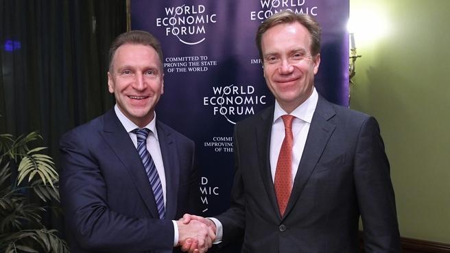 Встреча Игоря Шувалова с президентом Всемирного экономического форума Бёрге Бренде
