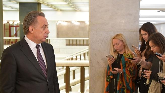 Брифинг Виталия Мутко по завершении заседания Правительства