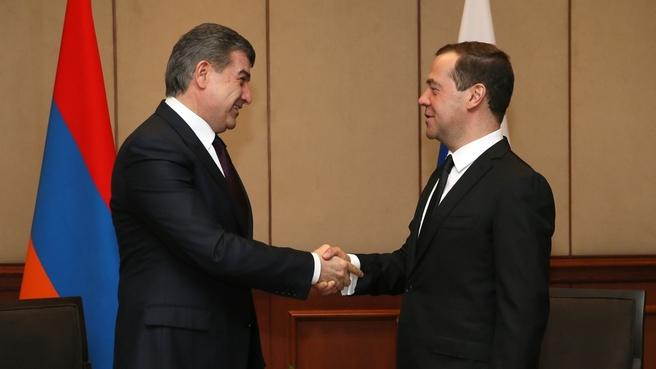 Встреча Дмитрия Медведева с Премьер-министром Республики Армения Кареном Карапетяном