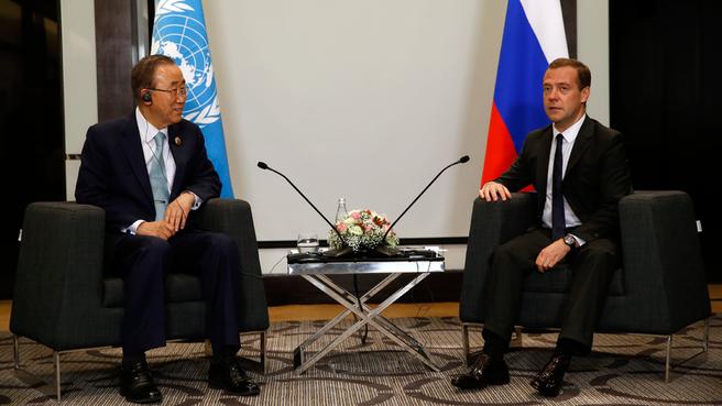 Dmitry Medvedev meets with UN Secretary-General Ban Ki-moon