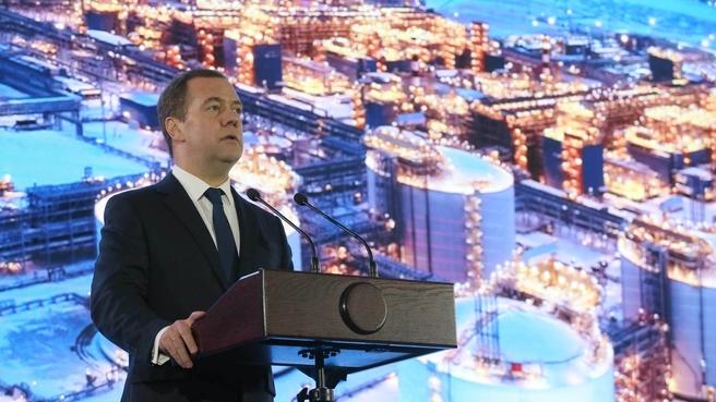 Dmitry Medvedev speaking at the Yamal LNG full capacity launch ceremony