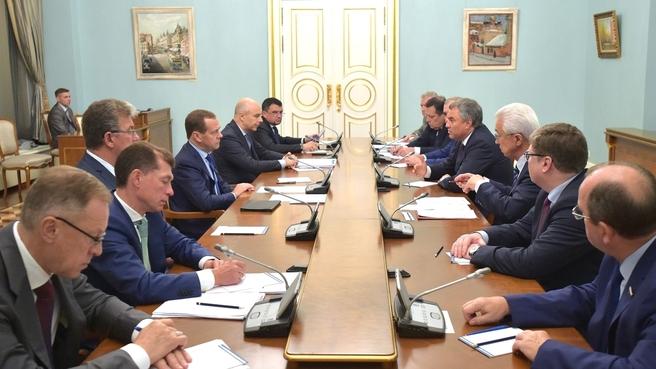 Совещание с руководством Государственной Думы и партии «Единая Россия» по проекту федерального бюджета на 2018-2020 годы