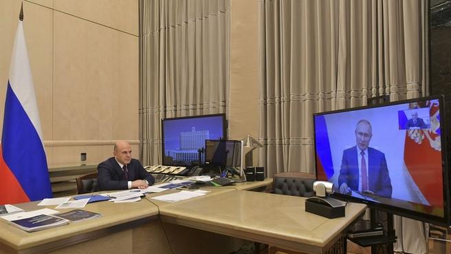 Встреча Президента России Владимира Путина с Михаилом Мишустиным