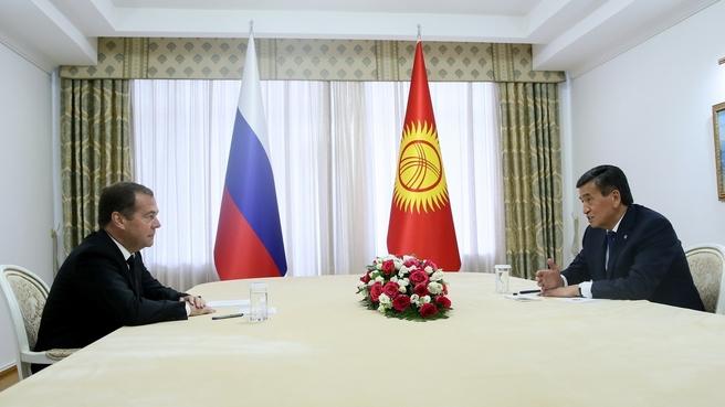 Встреча Дмитрия Медведева с Президентом Киргизской Республики Сооронбаем Жээнбековым