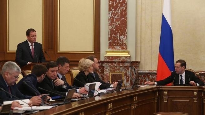 Доклад генерального директора госкорпорации «Роскосмос» Игоря Комарова на заседании Правительства