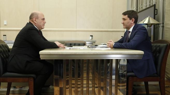 Встреча Михаила Мишустина с  генеральным директором ПАО «Россети» Андреем Рюминым
