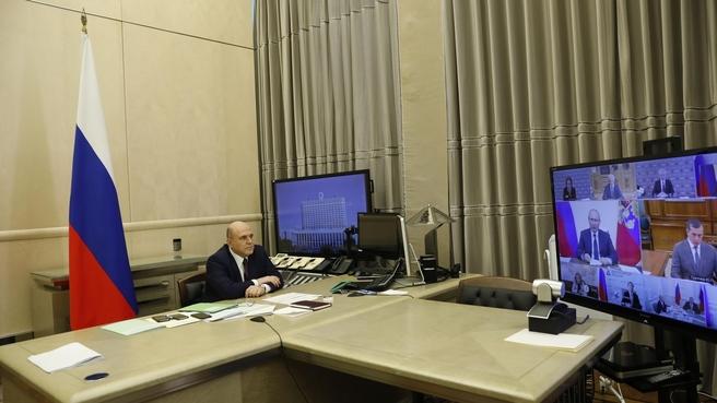 Михаил Мишустин на совещании у Президента России по вопросам реализации мер поддержки экономики и социальной сферы