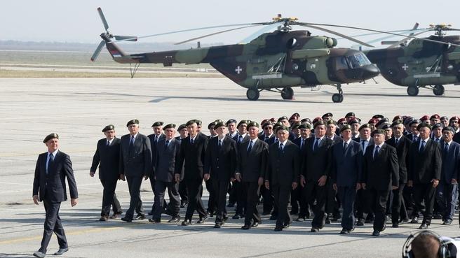 Ветераны сербской армии на военном параде в честь 75-летия освобождения Белграда от фашистов