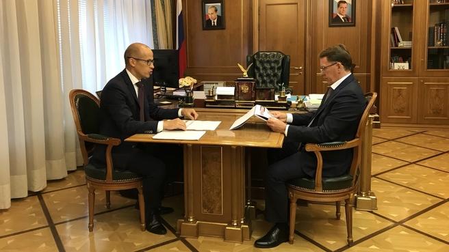 Встреча Алексея Гордеева с главой Удмуртской Республики Александром Бречаловым