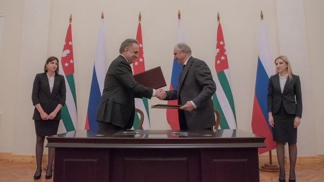 Виталий Мутко и Премьер-министр Абхазии Валерий Бганба