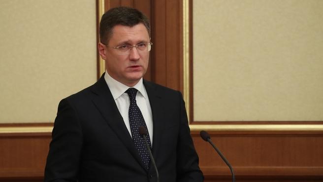 Доклад Александра Новака на заседании Правительства
