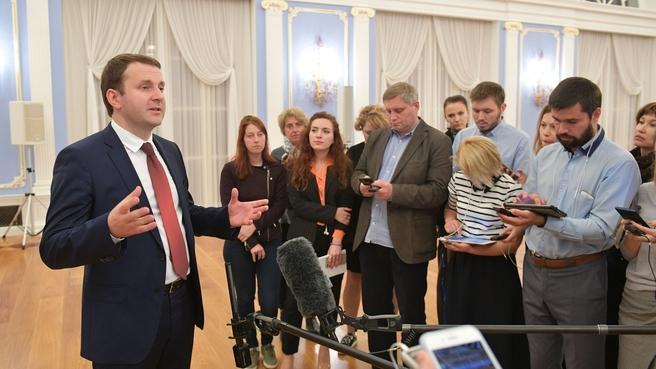 Брифинг Максима Орешкина