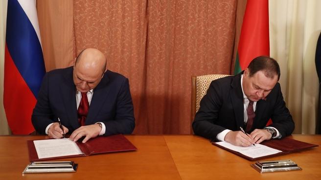 Подписание документов, принятых на заседании Совета Министров Союзного государства