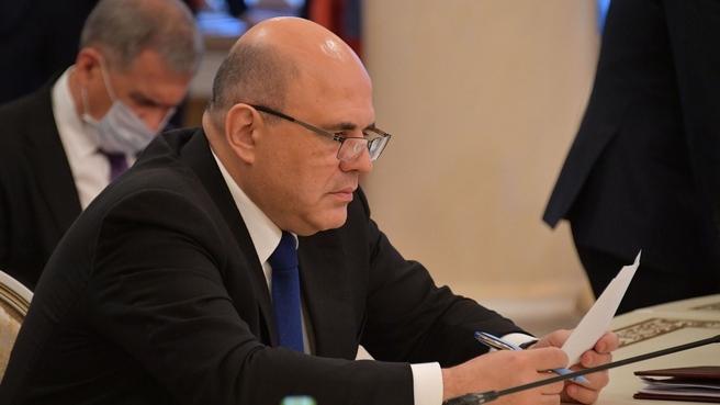 Михаил Мишустин во время подписания документов по итогам заседания Евразийского межправительственного совета