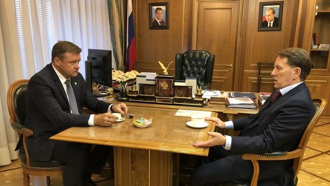 Встреча Алексея Гордеева с губернатором Рязанской области Николаем Любимовым
