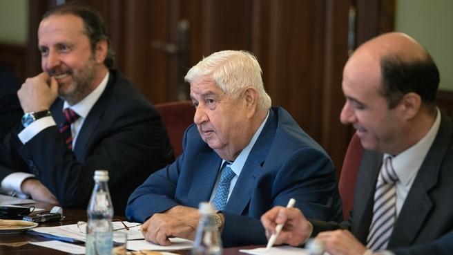 Встреча Юрия Борисова с Заместителем Председателя Совета министров, Министром иностранных дел и по делам соотечественников Сирии Валидом Муаллемом