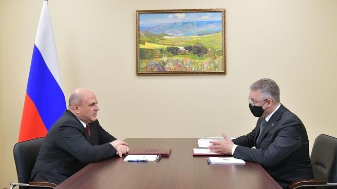 Беседа Михаила Мишустина с губернатором Ставропольского края Владимиром Владимировым