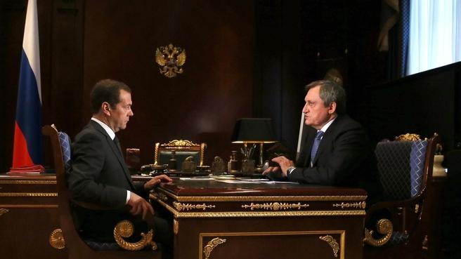 Встреча Дмитрия Медведева с председателем правления ПАО «РусГидро» Николаем Шульгиновым